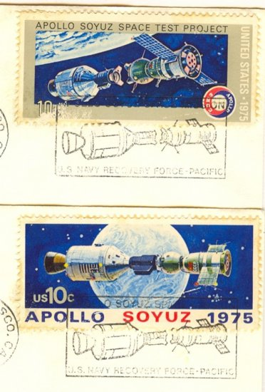 US Special Cancellation US Navy Recovery Force Pacific Spacecraft before and after docking Stamps