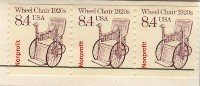 Wheel Chair Coil Stamp 8.4 cent FDI SC 2256 First Day Issue Strip of 3 Transportation Issue