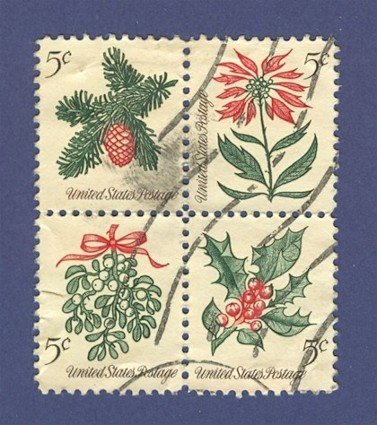 United States 1964 Christmas Issue Block of 4 stamps