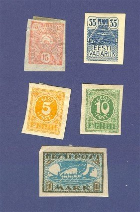 Estonia 5 stamps from 1919 to 1920  Packet No 1696