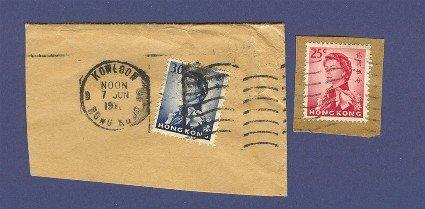 Hong Kong 2 stamps on envelope