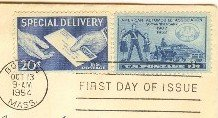 Special Delivery Stamp 20 cent FDI SC E20 First Day Issue 3cent American Automobile Assoc