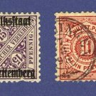 Wurttemberg  2 stamps from 1875 to 1918