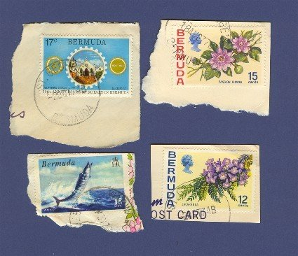 Bermuda Packet No 1400 with 4 stamps on paper
