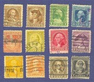 1932 George Washington Bicentennial Issue complete Set of 12