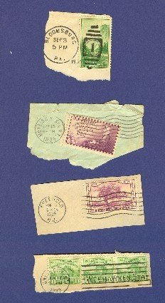 United States 4 Stamps with Postmark from 1933 to 1935