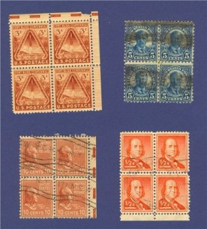 United States 4 sets of Stamps in blocks of four   Packet No 13636
