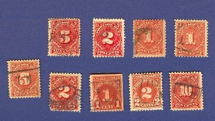 United States 9 Postage Due Stamps from 1911 to 1918  Packet No18648