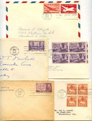 1940s 5 FDI California Gold Joseph Pulitzer Tennessee Statehood Ft Bliss First Day Issue Packet
