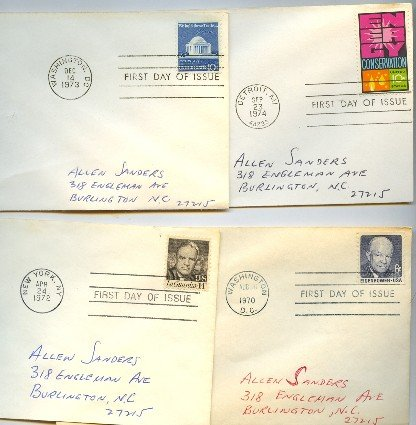 1970s 4 FDI Eisenhower LaGuardia Jefferson First Day Issue Packet