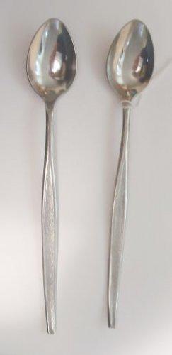 2 Iced Tea Spoons Ekco Eterna Stainless Flatware Sorority Free Shipping