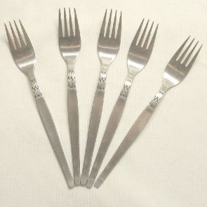 5 Place Forks  Vintage Amefa Holland Stainless Flatware Black Accent Free Shipping