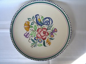 POOLE POTTERY ENGLAND COCKEREL LE Hand Painted 1950s FLORAL DINNER or DECORATOR PLATE