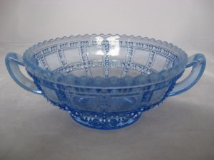 Imperial Glass Blue Opalescent Beaded Block Cream Soup Bowl - 2 Handled