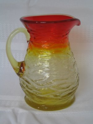 KANAWHA or BLENKO AMBERINA BARK TEXTURED PITCHER