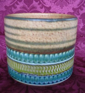 Scandinavian Modern Art Pottery Incised Cylinder Vase/ Bowl Eames Era Sgrafitto on Redware
