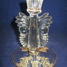 Paden City Glass w/Gold Gazebo Etch Candlestick- Maya