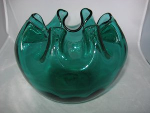 "BLENKO #947 L CRIMPED 8"" AQUA ROSE BOWL. Dimpled Vase - Winslow Anderson"