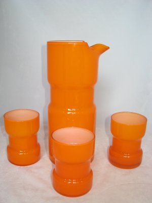Orange Cased Glass Martini Mixer Set- Mid-Century Carafe & Glasses / Pitcher & Tumblers-Eames