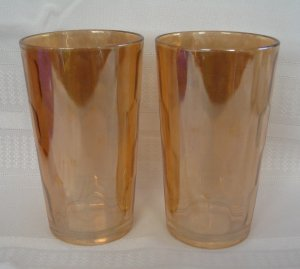 2 Jeannette Marigold Hex Optic - Honeycomb Water Tumblers