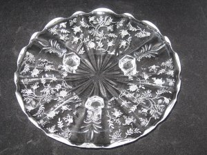 """Fostoria Chintz 3 Toed Footed Tidbit Plate-8"""" - Elegant Glass"""