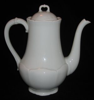 Giraud Limoges Coffee Pot with Lid White Porcelain Scalloped Raised Leaf