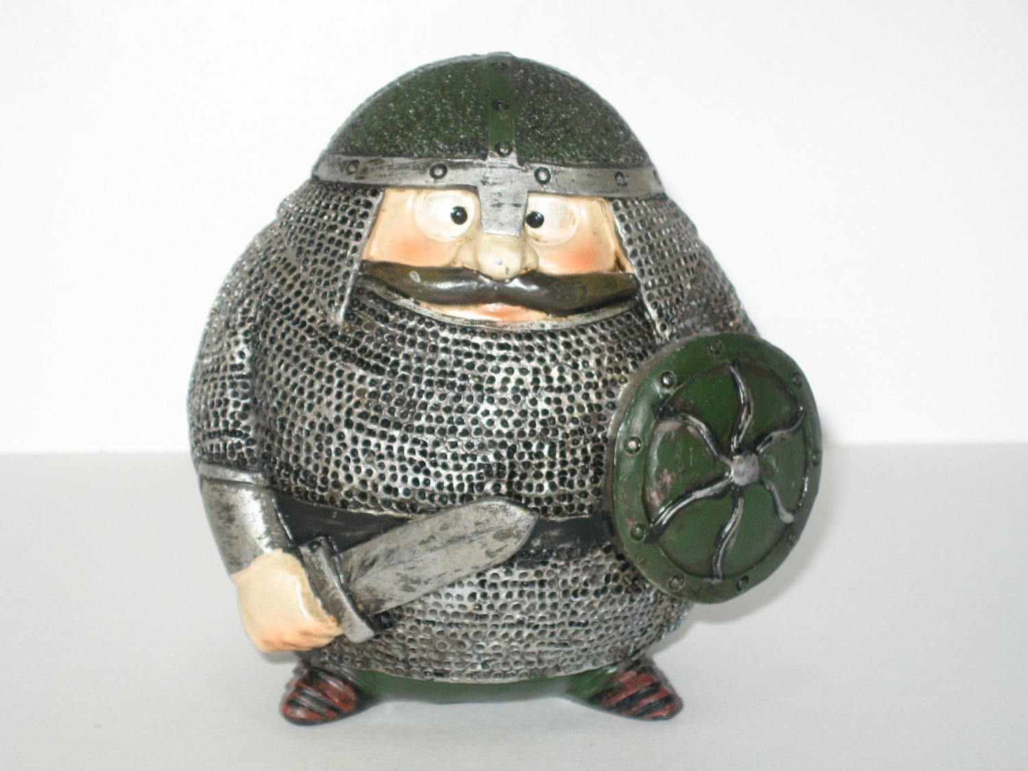 Vintage Cast Resin Viking Toy In Chain Mail Souvenir Of