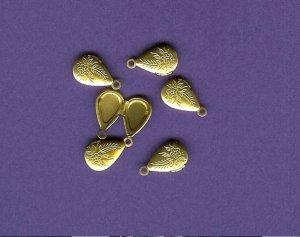mini Tear Drop  Brass Lockets 6 pc FREE SHIPPING