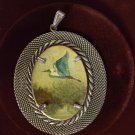 Painted Bird Silver Pendant  Hand Signed