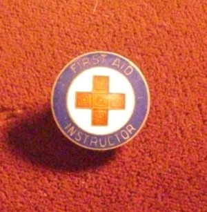 Vintage First Aid Instructor Pin Back