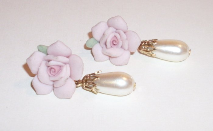 Rose Pearl Tear Drop Pierced Earrings