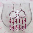 Crystal Hoops Fuchsia