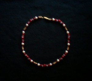 Ruby Red Necklace with Pearls
