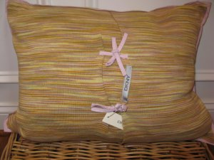 DKNY PLAY Yellow Knit Deco Pillow NWT