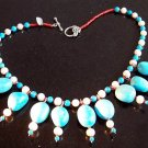 Turquoise/Salt water pearl's/Red sea corals/Tibetan silver Neclklace.18""