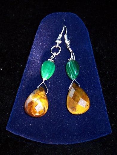 Tiger's Eye/Russian Malachite/silver plated set,earrings & pendant