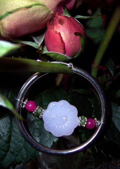 Rose Quarz/Jade/Peridon/Sterling silver HOOPs