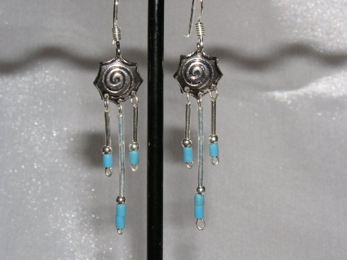 STERLING SILVER and TURQUOISE WINDCATHER EARRINGS