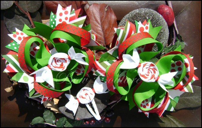 Large Layered Peppermint Christmas/Holiday Hair Bow Set