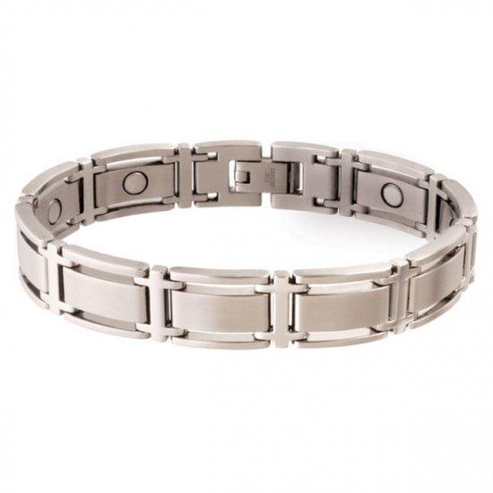 Sabona 347 Executive Symmetry Silver Magnetic Bracelet - SIZE MEDIUM