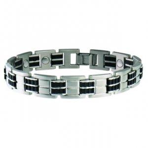 Sabona 353 Men's Executive Stainless Rubber Magnetic Bracelet - SIZE MEDIUM