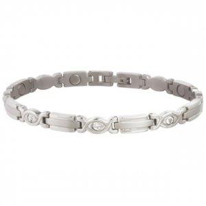 Sabona 303 Lady Executive Silver Gem Magnetic Bracelet  -  SIZE LARGE