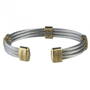 Sabona 363 Trio Cable Stainless Gold Magnetic Bracelet - SIZE XTRA LARGE