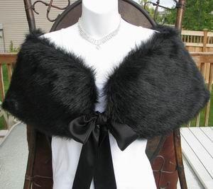 Black Faux Mink Fur Shawl With Bows