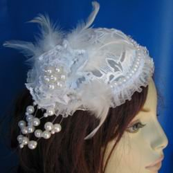 Ivory lace bridal hat with pearls and rhinestones accent