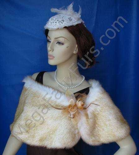 Champagne Chinchilla Faux Fox Fur Wrap with Clasp