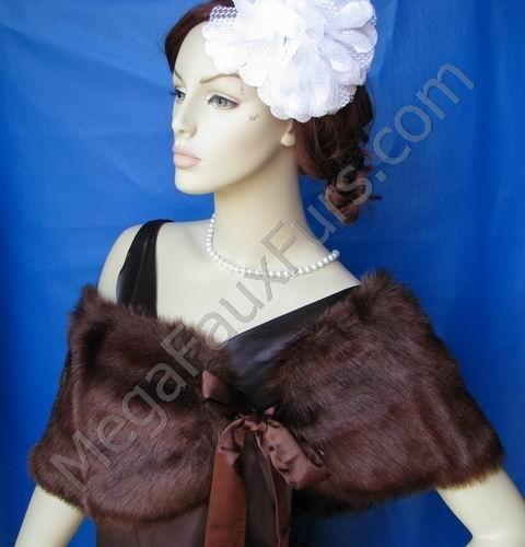 Sable Faux Fox Fur Bridal Stole Shawl