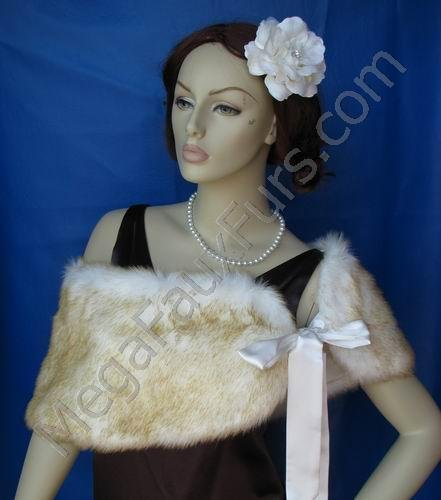 Champagne Faux Fox Shawl with Ivory Base