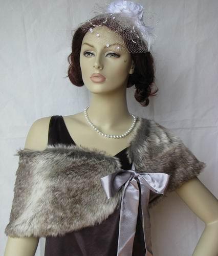 Grey Faux Fox Fur Bridal Stole Shawl
