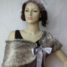 Grey Faux Fox Fur Bridal Stole Shawl